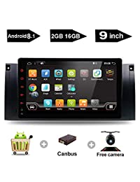 "9"" Inch Android 7.1 Touch Screen Radio Car Stereo Car Radio GPS Navigation Head Unit Multimedia WiFi SUB FM AM OBD2 fit BMW M5 1995 1996 1997 1998 1999 2000 2001 2002 2003 E39 1995 2003 E53 2000 2007"
