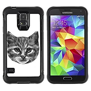 Hybrid Anti-Shock Defend Case for Samsung Galaxy S5 / Kitty Cat Pencil Painting