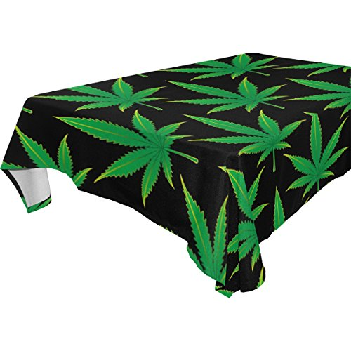 WOZO Rectangular Cannabis Marijuana Leaf Tablecloth Table Cloth Cover for Home Decor Dinner Kitchen Party Picnic Wedding Halloween Christmas 54x54 inch