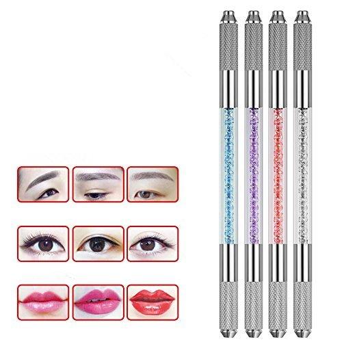 Yimart 4Pcs/set Different Colors Professional Double-headed Permanent Makeup Manual Tattoo Machine Pen Crystal Tattoo Eyebrow Pen