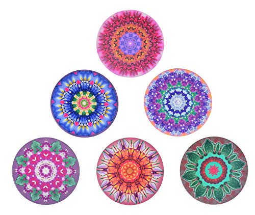 (Coasters for Drinks by Rupsap-Absorbent Round Ceramic Stone Drink Coaster set with Cork Backing, Protect Your Furniture from Spills, Scratches, Water Rings & Damage, House warming presents, set of 6)