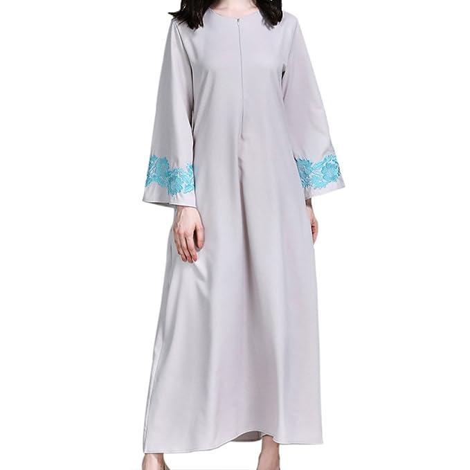 Hzjundasi Musulmano Islamico Ricamo Maxi Vestito con Tasca Medio Oriente  Dubai Etnico Robe Malaysia Cocktail Abaya Arabo Chiesa Preghiera Kaftan  Donne ... 200bce9a500