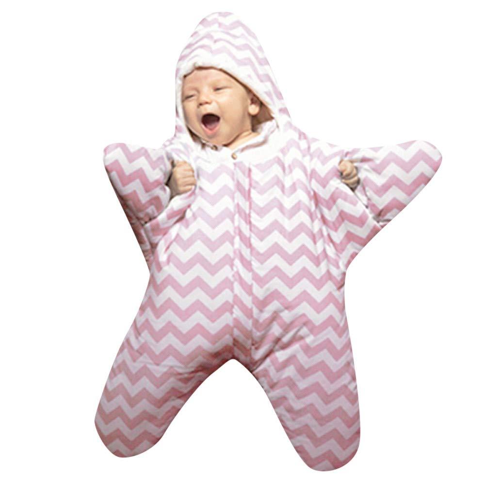 Tronet Newborn Baby Boys Girls Winter Cartoon Shark Sleeping Bag Swaddle Warm Thick Wrap, 8 Colors (Pink 1)