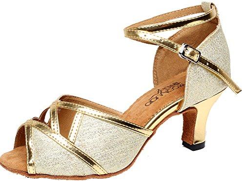 Salabobo 7072 Peep AQQ Ferse Strap Tango Womens Toe Mitte goldene Tanzschuhe X Latin PU Hochzeit qrB1CwqH