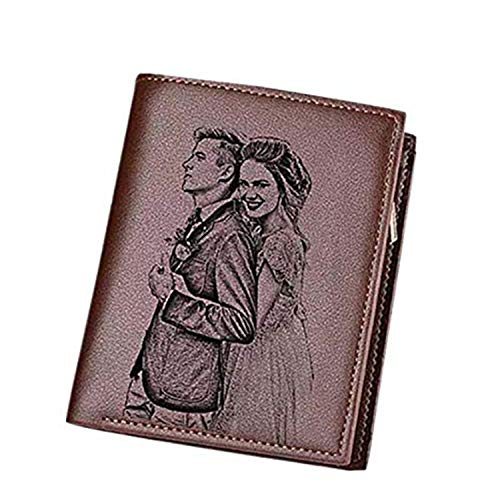 Personalized Men's Genuine Leather Trifold Custom Photo Wallet With Zipper Pocket Credit Card Holder Coin Purse Short (Brown Double Side)
