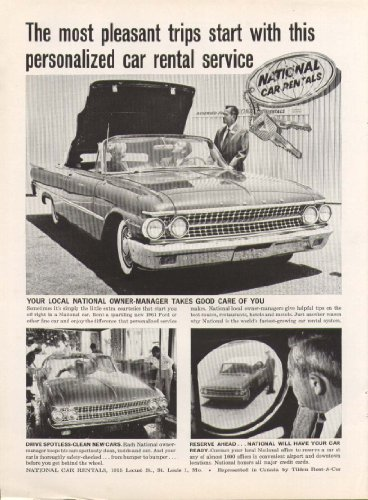 Ford Sunliner convertible National Car Rentals ad 1961