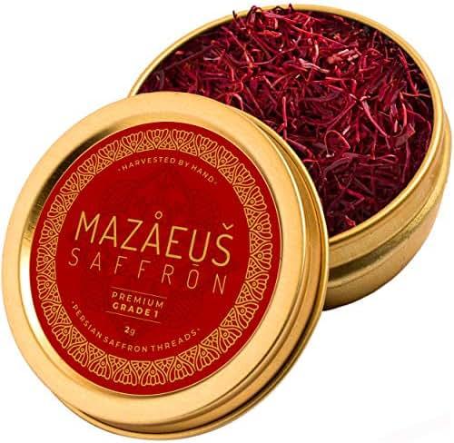 Mazaeus Saffron, Premium Saffron Threads (Grade 1), All-Red Saffron Spice, Highest Quality Persian Saffron for Culinary Use (2 grams)