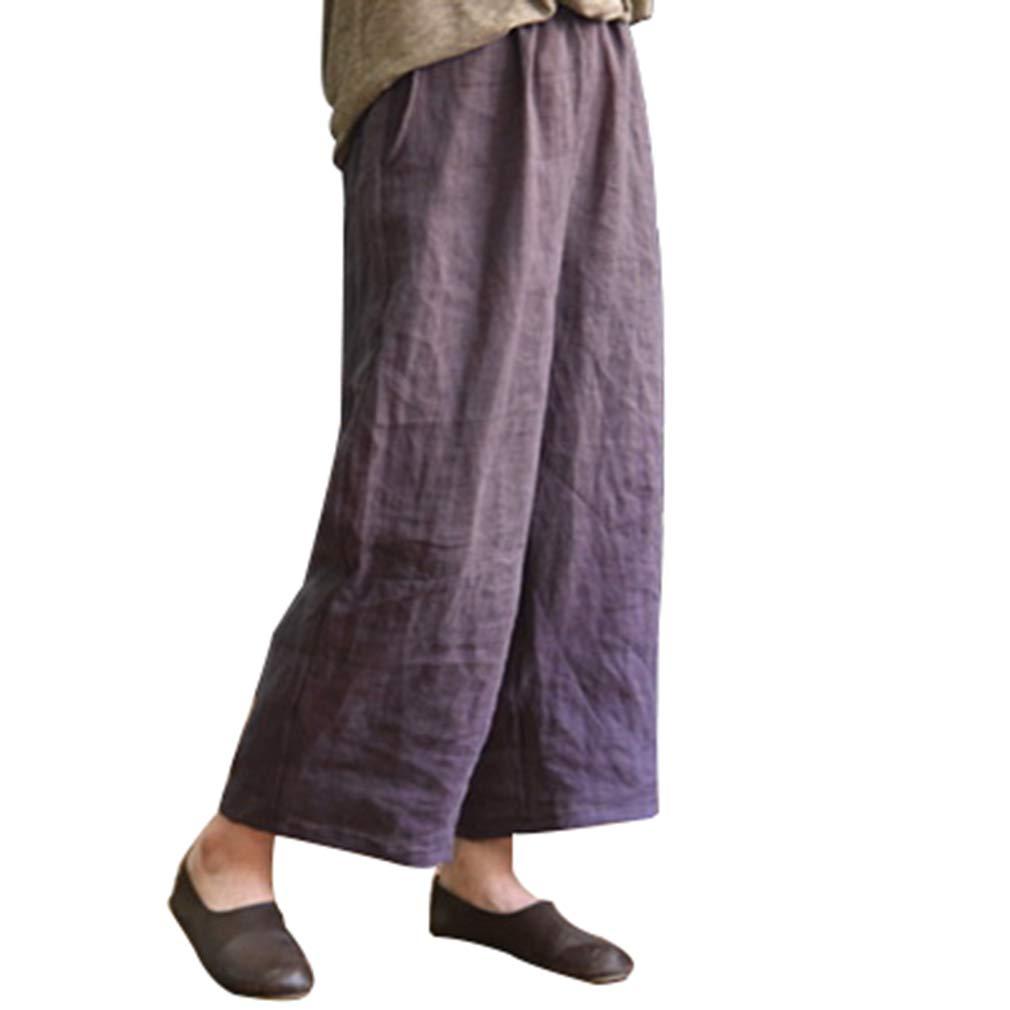 Mxssi Taille Elastique Pantalons Longs Femme Confortable Pantalon en Lin /Él/égant Jambe Large Loose Fit Leggings Casual Pantalon Violet//Marron//Gris Fonc/é S-5XL