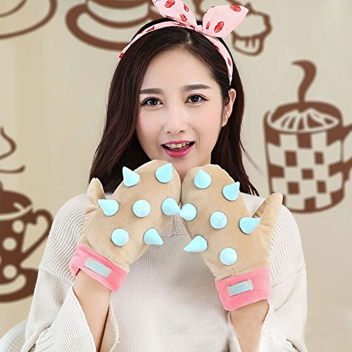 Hedgehog Wearing Costume (Glow in the Dark Gloves Glowing Cute Winter Cotton Cool Magic Cold Weather Riding Gloves for girl women Lovely Boy Man Party (Light Brown))