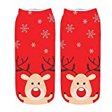 GzxtLTX Single Ankle Socks Christmas Cartoon 3D Christmas Funny Pattern Printed