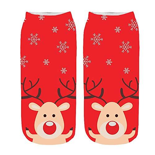 Expxon Gran Venta Calcetines de Mujer D Historieta Divertida Navidad Loco Lindo Increíble Novedad Imprimir Tobillo...