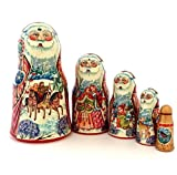 Santa Russian Nesting doll Hand crved Hand painted 5 piece matryoshka set