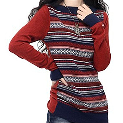 Sicong2 Sweet Winter&Autumn Long Sleeve Cashmere Blend Knitted Striped Pullover Sweater Fashion Female O-Neck Vintage Knitwear as pictureXL Grace