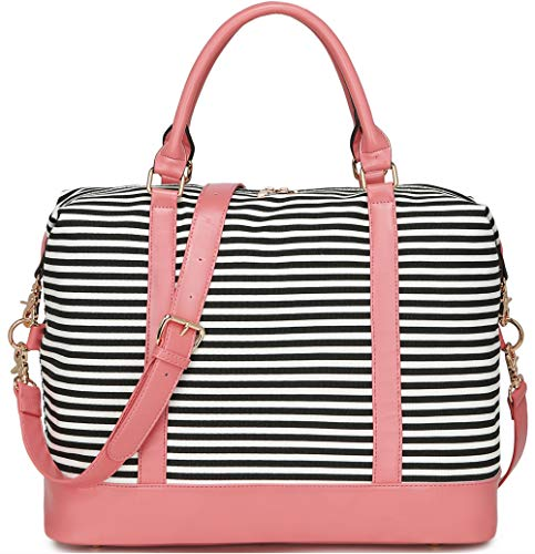 - BLUBOON Women Weekender Bag Overnight Travel Carry-on Tote Duffle Bag for Rolling Luggage with Shoulder Strap (Pink)