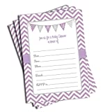50 Purple Baby Shower Invitations and Envelopes (Large Size 5x7)