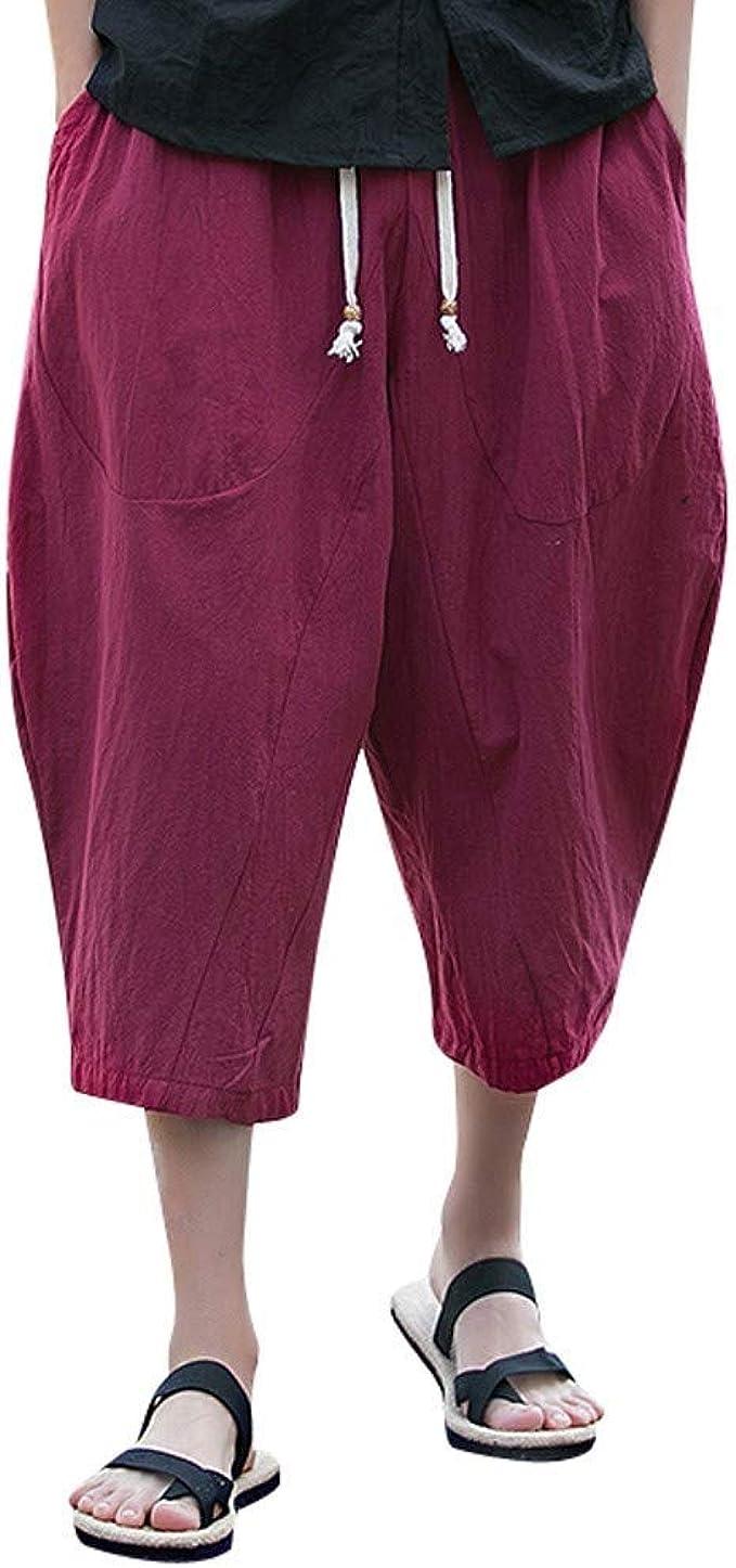 Geilisungren Pantalones para Hombre Pantalones Anchos Abiertos ...