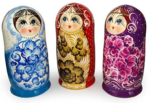 "5 pc set Vintage Nesting Matryoshka Doll - Natasha with Long Eyelashes - Russian Babushka Stacking Doll - 7,5"" Tall"