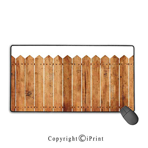Tabletop Clock Stripe - Waterproof Mouse pad,Farm House Decor,Triangle Edged Timber Border Stripes Siding Woodwork Enclosing Tool Image,White Brown, Non-Slip Rubber Base Mouse pad with Lock,15.8