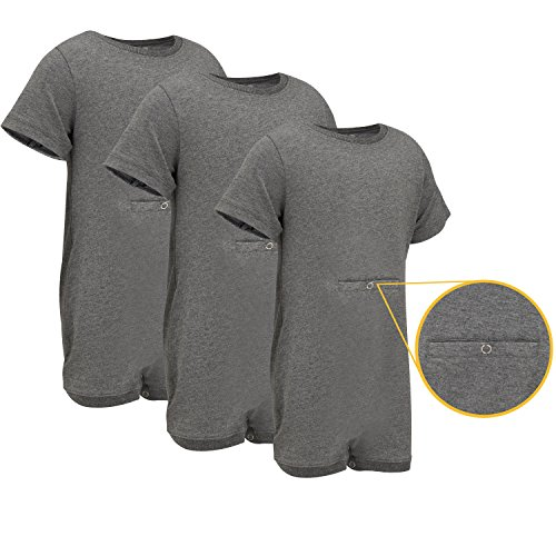 Special Needs Clothing W Tube Access For Older Children  2 16 Yrs Old    Short Sleeve Bodysuit For Boys   Girls By Kaycey   Grey  Pack Of 3   3 4 Years Old