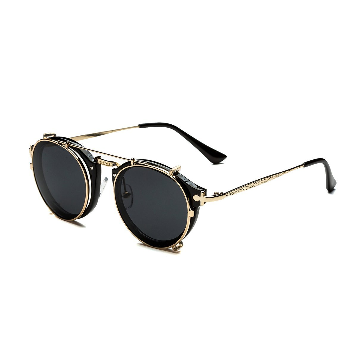 Dollger Double Lens Flip up Clip On Sunglasses Steampunk Style and Round Black Glasses for Men