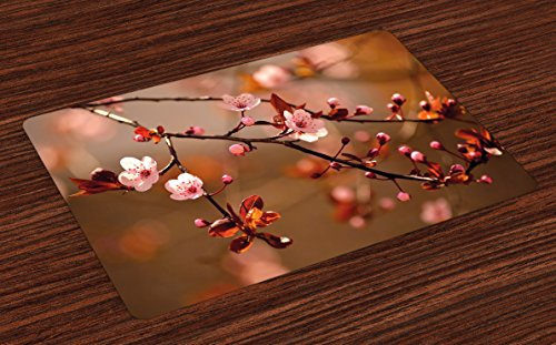 (Ambesonne Nature Place Mats Set of 4, Cherry Blossom Sakura Tree Branches Flowering Japanese Flourishing Print, Washable Fabric Placemats for Dining Room Kitchen Table Decor, Pale Pink Dark Coral)