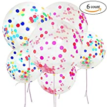 6 Giant 36 Inch Confetti Balloons Large Latex Balloon - Decoration for Wedding Birthday Party Event Festivals Christmas
