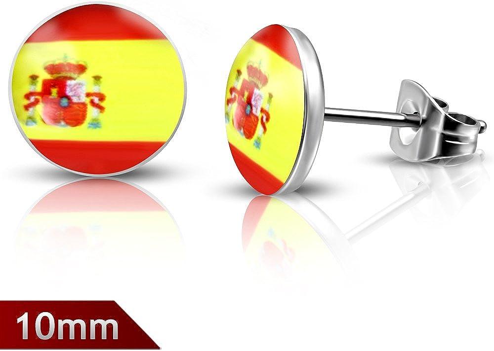 10 mm | acero inoxidable bandera de España Círculo Stud Pendientes (par) – leb291: Amazon.es: Joyería