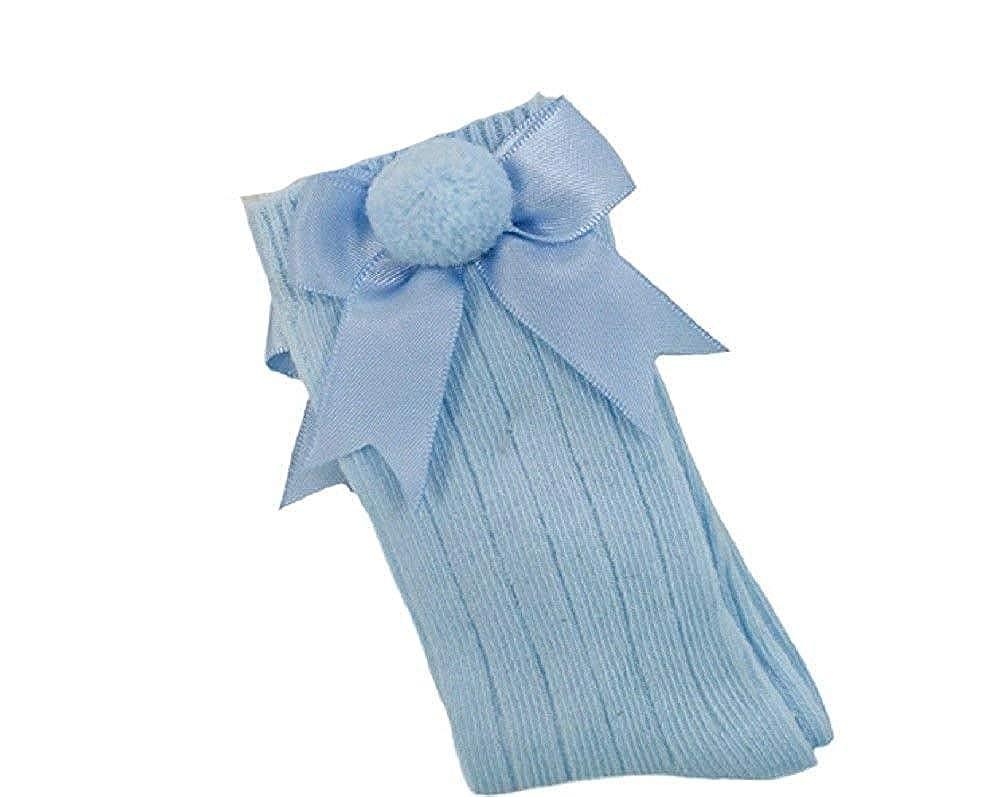 3-6 Months, White Baby Boys Girls 1 Pair Pom Pom Spanish Romany Style Knee-Length Stretch Socks In Multi Colours S47