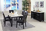 Mega Furnishing Home Kitchen Curvy white marble style dining table with black leather chair 7PC