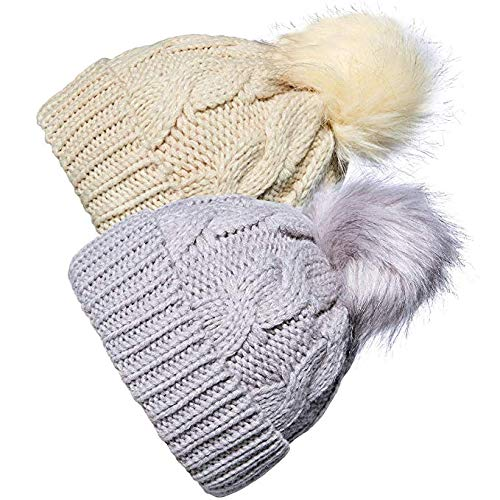 YSense 2 Pack Baby Boy Girl Winter Warm Fleece Lined Hat Infant Toddler Kid Crochet Hairball Beanie Knit Cap (0-5 Years)