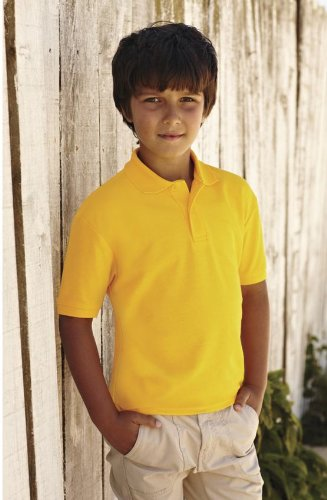 Fruit Of The Loom Children's 65/35 Pique Polo 3/4,Sunflower