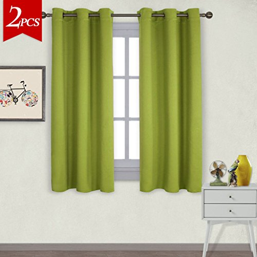 NICETOWN Thermal Insulated Solid Grommet Top Blackout Curtains / Drapes for Kid's Room (1 Pair,42 x 63 Inch in Fresh (5 Piece Clean Store Block)