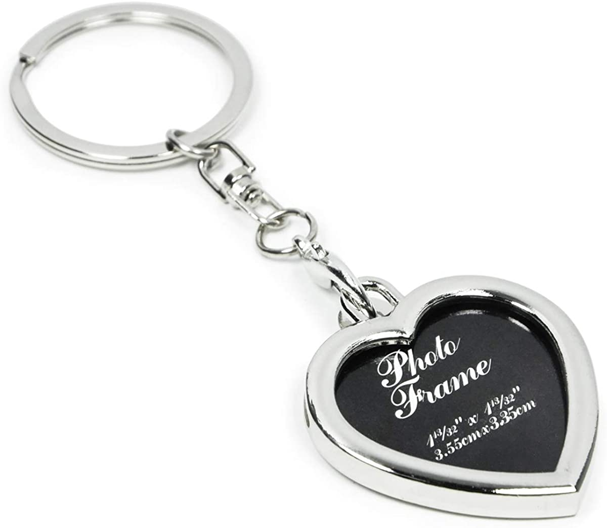Elechobby Photo Keychain Keyring Picture Frames Commemorative Keychains (Silver Heart), Medium