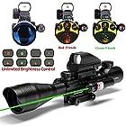 UUQ C4-12X50 AR15 Rifle Scope Dual Illuminated Reticle W/ GREEN Laser and 4