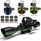 UUQ C4-12X50 Rifle Scope Dual Illuminated Reticle W/Green Laser and 4 Tactical Holographic Dot Sight