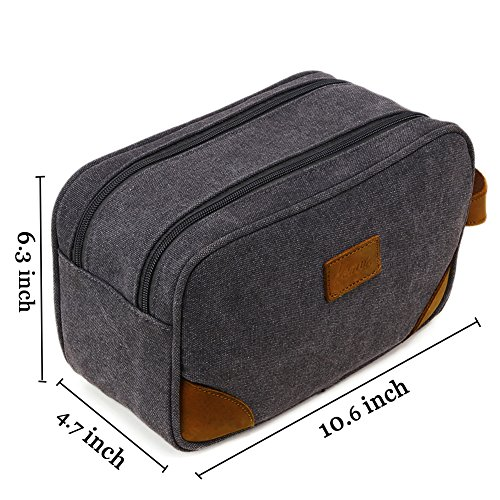 Kemy's Mens Canvas Toiletry Bag Travel Bathroom Shaving Dopp Kit with Double Compartments, Unisex