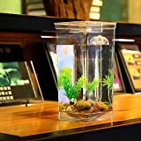 ACHICOO Desktop Aquarium Mini Goldfish Tank Cylinder Plastic Ecological Home Use