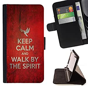 BullDog Case - FOR/LG G3 / - / KEEP CALM AND WALK BY THE SPIRIT /- Monedero de cuero de la PU Llevar cubierta de la caja con el ID Credit Card Slots Flip funda de cuer