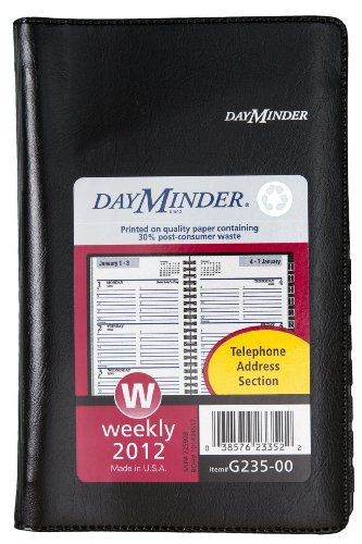 DayMinder Recycled Weekly Appointment Book , 3 x 6 Inches, Black, 2012 (G235-00)