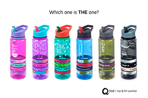 Straw Band - Q Me COOL BANDS Tritan Water Bottle and Straw: Trendy Transparent Tumbler with 4 Silicone Wristbands Holds 25.4 Ounces GRAY INHALE COURAGE EXHALE FEAR