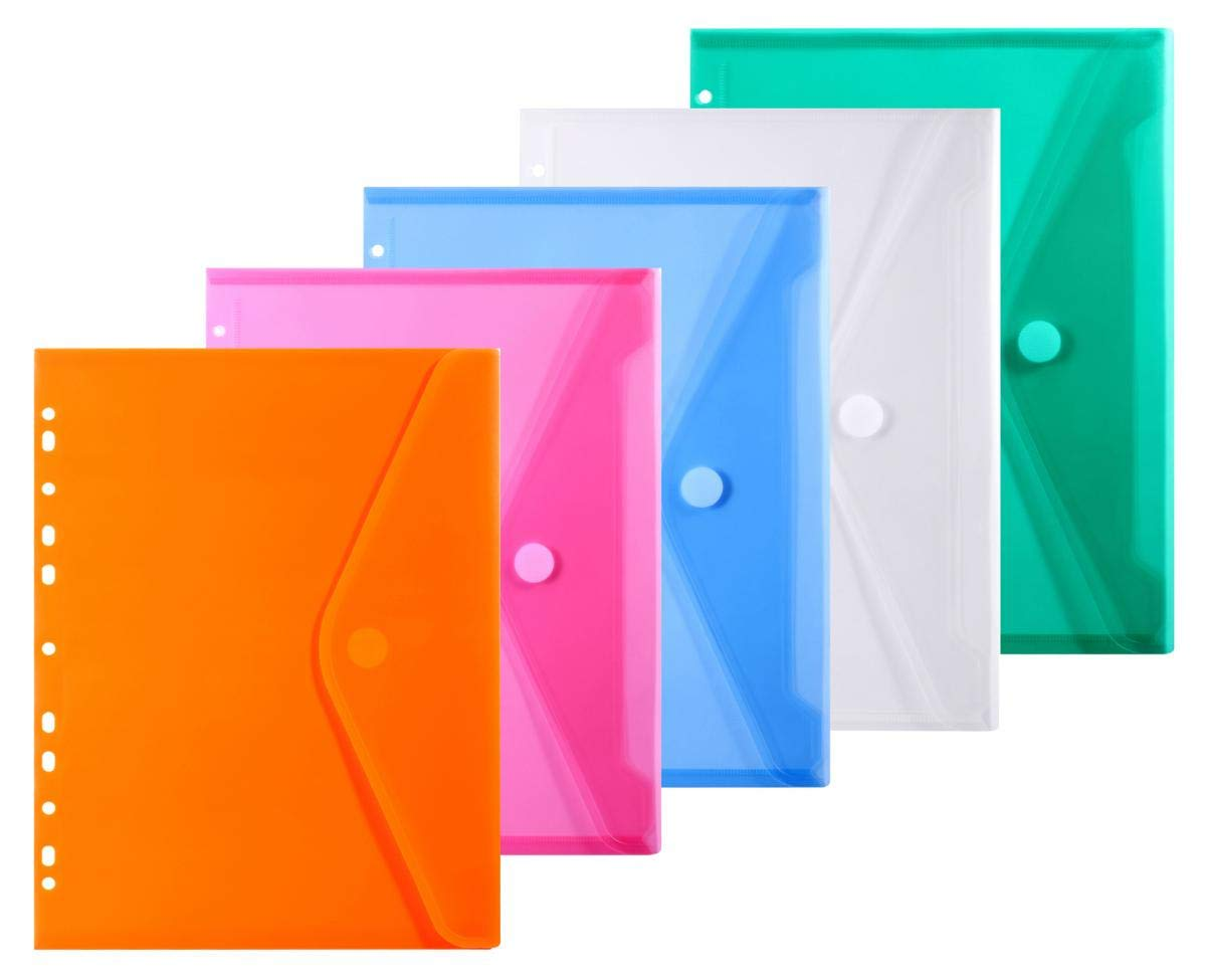LaOficina 11 Holes Semi Poly Envelope Pocket Insert Pages for Binders, with Hook and Loop Closure Assorted Colors, A4 Size 5 Packs