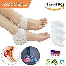 Heel Cups, Plantar Fasciitis Inserts, Gel Heel Pads Cushion *New Material* (3 Pairs) Great for Heel Pain, Heal Dry Cracked Heels, Achilles Tendinitis, for Men & Women.