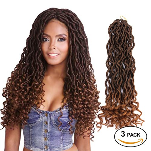 Eerya Goddess Faux Locs Crochet Hair Braids Wavy with Curly Ends Synthetic Hair Extensions Fauxlocs Fiber Braiding Hair Afro Kinky Soft Dread Dreadlocks (3Packs/Lot, 1B/27#)