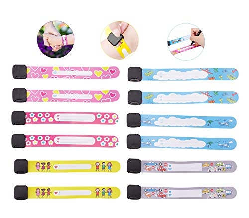 (Child Safety ID Wristband, 12pcs Reusable&Waterproof Safety ID Bracelets for Kids Anti-Lost Child Travel ID Bands for Children Field Trip&Outdoor Activity)