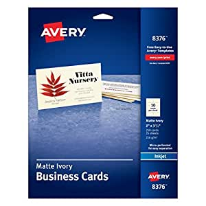 """Avery 2"""" x 3.5"""" Ink Jet Business Cards (8376)"""