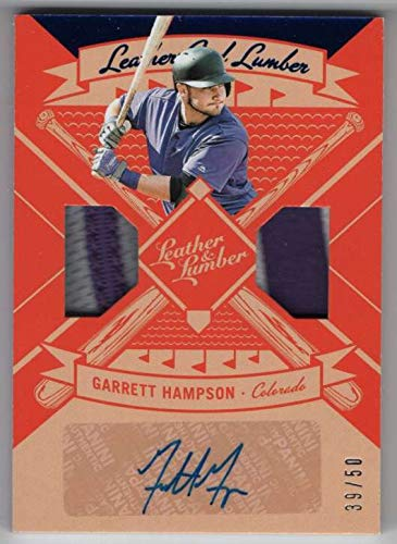 2019 Panini Leather & Lumber Leather/Lumber Signatures Blue #6 Garrett Hampson Patch AUTO SER/50