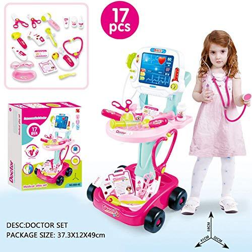 Arztwagen Kinder Arztkoffer Spielzeug Doktor Trolley Doktorkoffer Pädagogisches Spielzeug für Kinder ab 3 4 5 6 Jahren,17 Teils