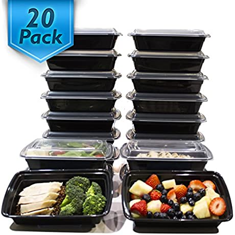 20 Pack 32 Oz Meal Prep Containers BPA Free Plastic Reusable Food Storage Container Microwave Dishwasher Safe Portion Control Containers Bento Box Lunch Box