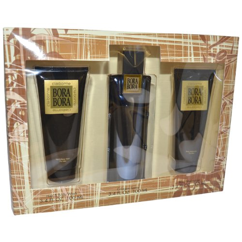 - Bora Bora By Liz Claiborne For Men. Gift Set (Cologne Spray 3.4 Oz + Hair & Body Wash 3.4 Oz + Body Moisturizer 3.4 Oz)