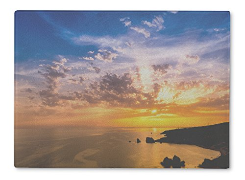 - Gear New Glass Cutting Board and Serving Dish, Dramatic Sunset Over Aphrodites Rock Also Known As Rock Of The, also makes great accent decor piece, 11x8, 5612416GN